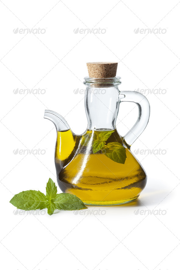 Bottle with mint oil - Stock Photo - Images