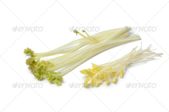 Bleached sea kale and sprouts - Stock Photo - Images
