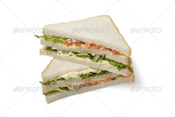 Salmon and egg club sandwich - Stock Photo - Images