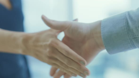 Out of Focus Businesswoman Shakes Her Hand with a Businessman. Hands in Focus. Finalizing the Deal