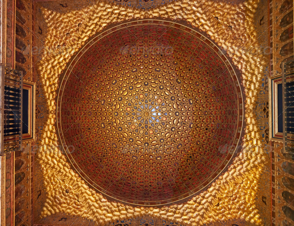Golden Dome architecture Ambassador room, Real Alcazar, Seville, Andalusia, Spain. - Stock Photo - Images