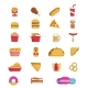 Fast Food Thin Line Icon of Junk Snack and Drink
