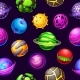Cartoon Space Planets and Stars Seamless Pattern