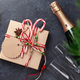Christmas gift box with craft decor and champagne - PhotoDune Item for Sale