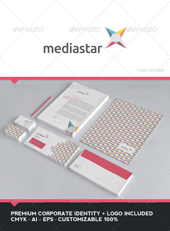 Media Star - Corporate Identity + Logo - Stationery Print Templates