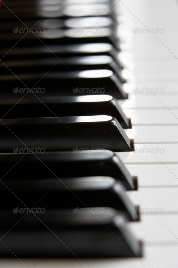 Close up of piano keys - Stock Photo - Images