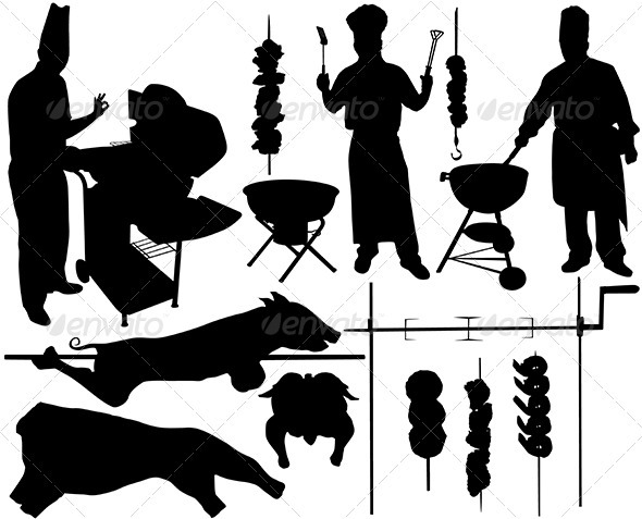 BBQ (barbecue) related objects silhouettes - Food Objects