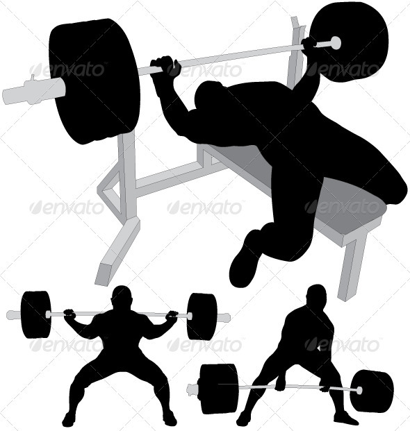 Power lifters exercising vector silhouettes - Sports/Activity Conceptual