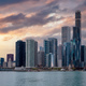 Chicago Illinois skyline, sunset time, waterfront skyscrapers blue cloudy sky background, USA - PhotoDune Item for Sale