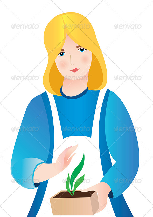 Illustration of girl with tomatoes - People Characters