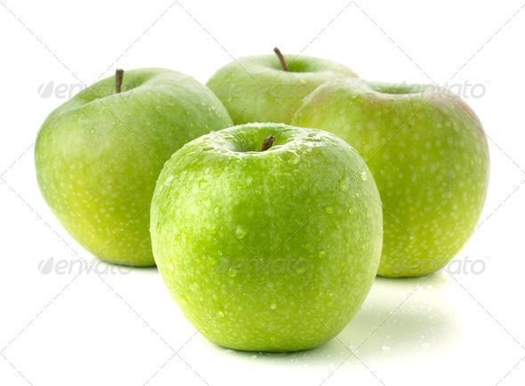 Four ripe green apples - Stock Photo - Images