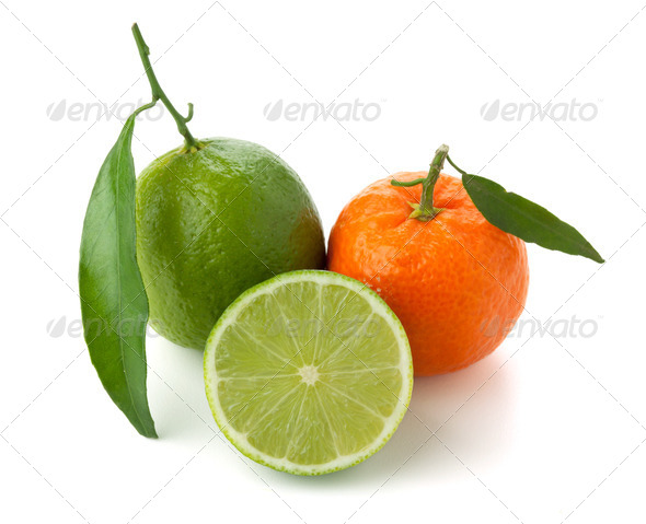 Limes and tangerine - Stock Photo - Images