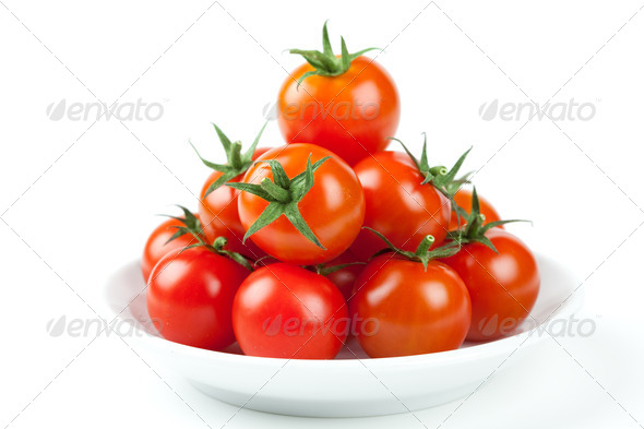 Fresh Cherry Tomatoes on plate - Stock Photo - Images