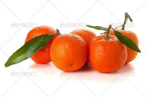 Five ripe tangerines - Stock Photo - Images