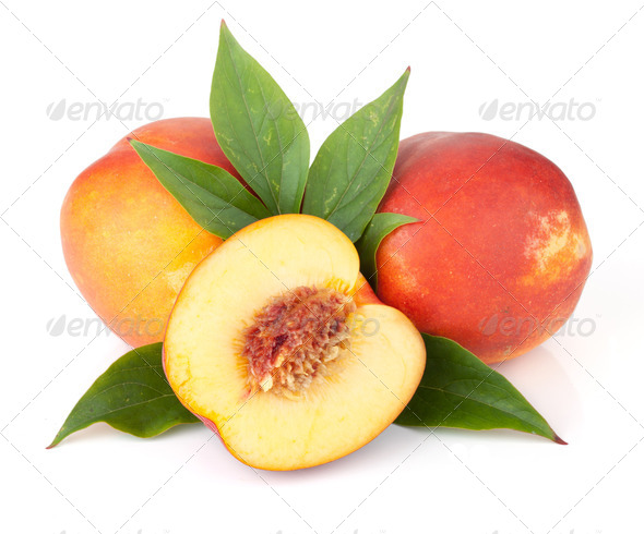 Ripe peach fruits - Stock Photo - Images
