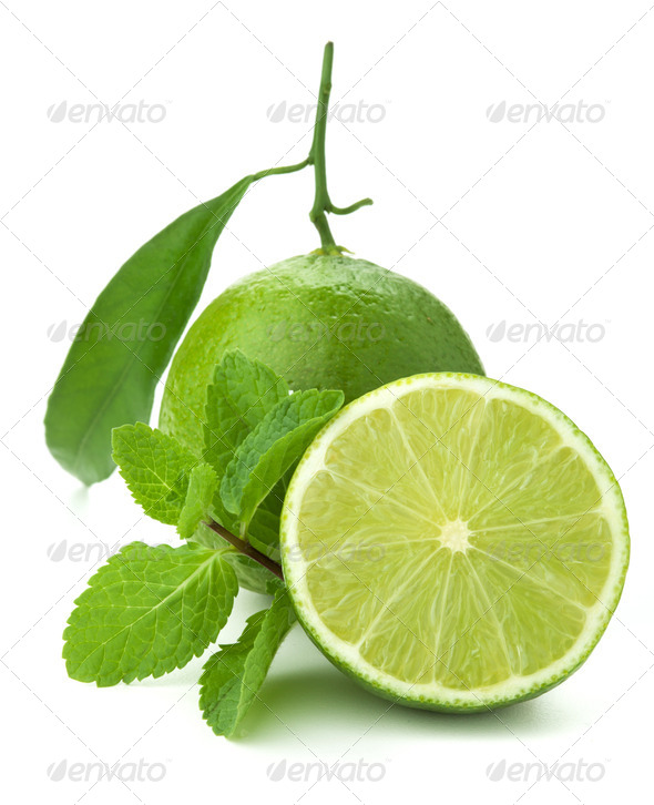 Ripe lime and mint - Stock Photo - Images
