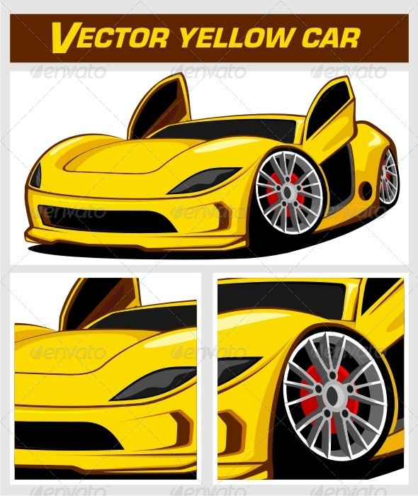 Vector Yellow Sport Car - Man-made Objects Objects