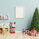 Mock up poster frame in children room with Christmas tree in living room. - PhotoDune Item for Sale