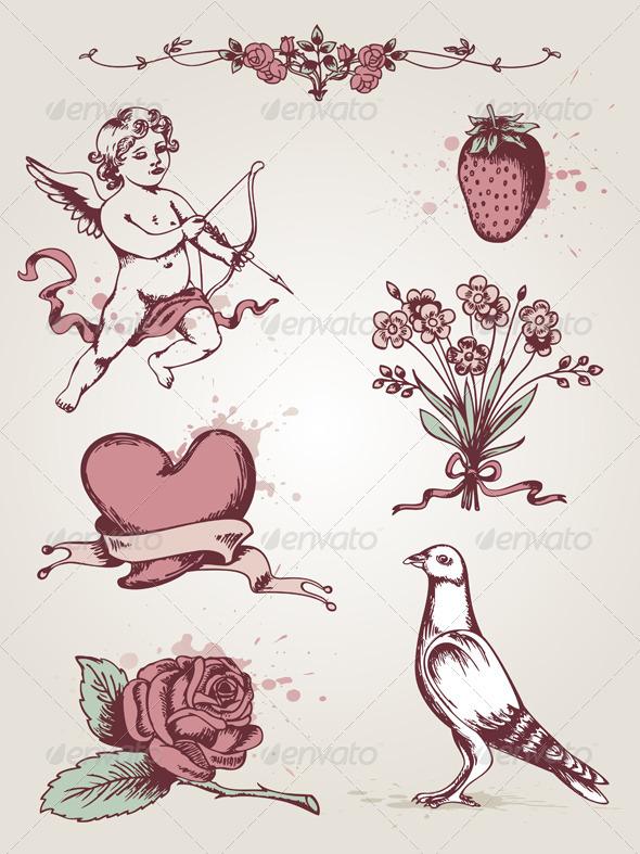 Valentine's Vintage Elements - Valentines Seasons/Holidays