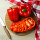 Concept of tasty food with bell pepper on wooden background - PhotoDune Item for Sale