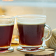 Hot coffee with milk foam and cinnamon sticks on christmas background, banner - PhotoDune Item for Sale
