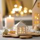 Winter atmosphere. Christmas decorations. Festive interior. Blurred background, bokeh - PhotoDune Item for Sale
