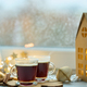 Coffee with milk foam and cinnamon, christmas concept, blurred background, selective focus - PhotoDune Item for Sale