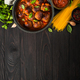Meatballs in tomato sauce and pasta on dark wooden table - PhotoDune Item for Sale