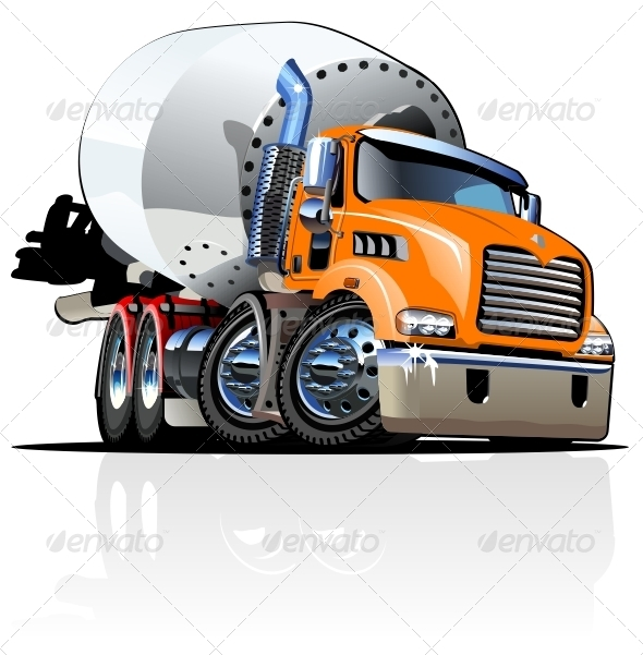 Vector Cartoon Concrete Mixer Truck - Industries Business