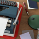 Vintage old typewriter at wooden desk table. Writer or screenwriter concept - PhotoDune Item for Sale