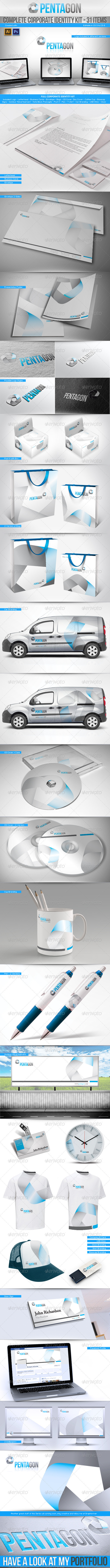 Corporate Identity Kit - Pentagon - 31 Items - Stationery Print Templates