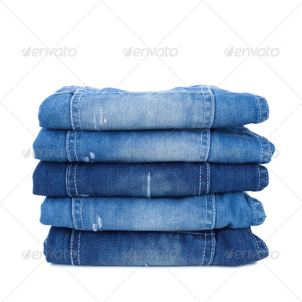 Stack of blue jeans - Stock Photo - Images