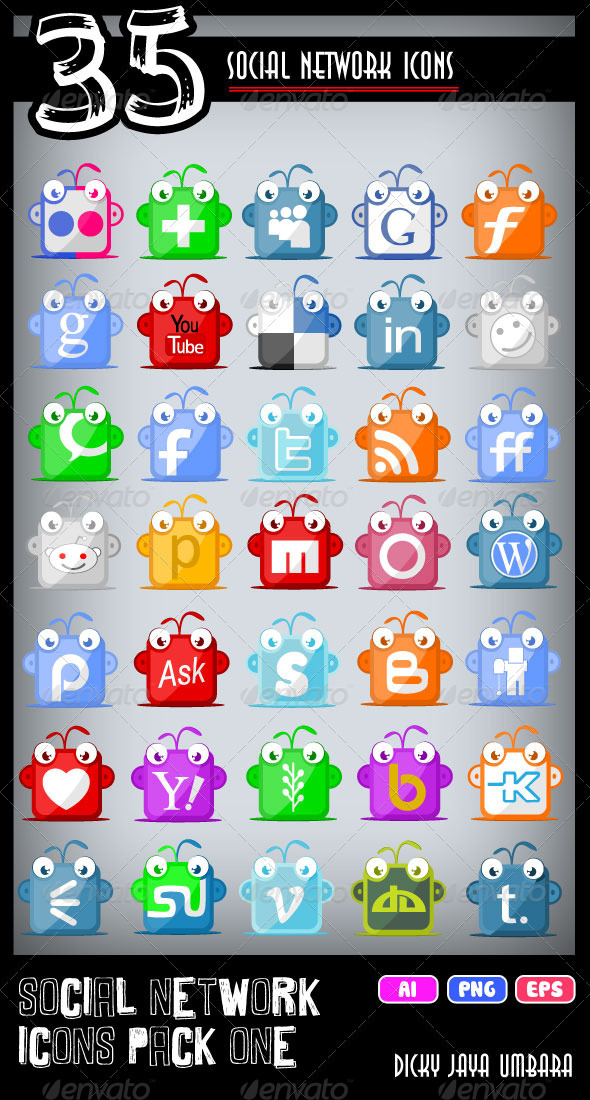 Social Network Icons Pack One - Characters Vectors