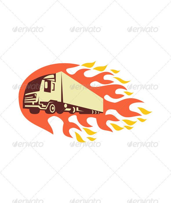 Container Truck and Trailer Flames Retro - Man-made Objects Objects