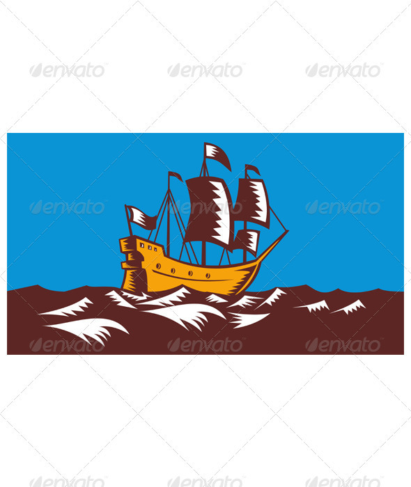 Tall Sailing Ship Retro Woodcut - Man-made Objects Objects