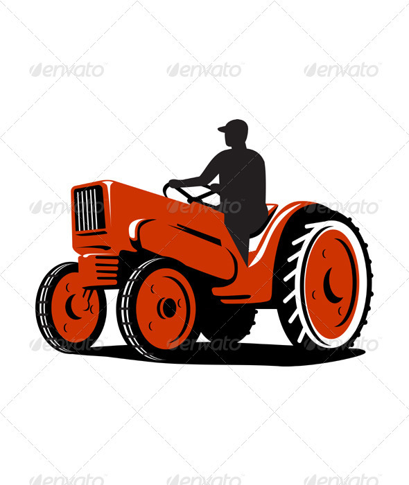 Farmer Driving Vintage Tractor Retro - Man-made Objects Objects