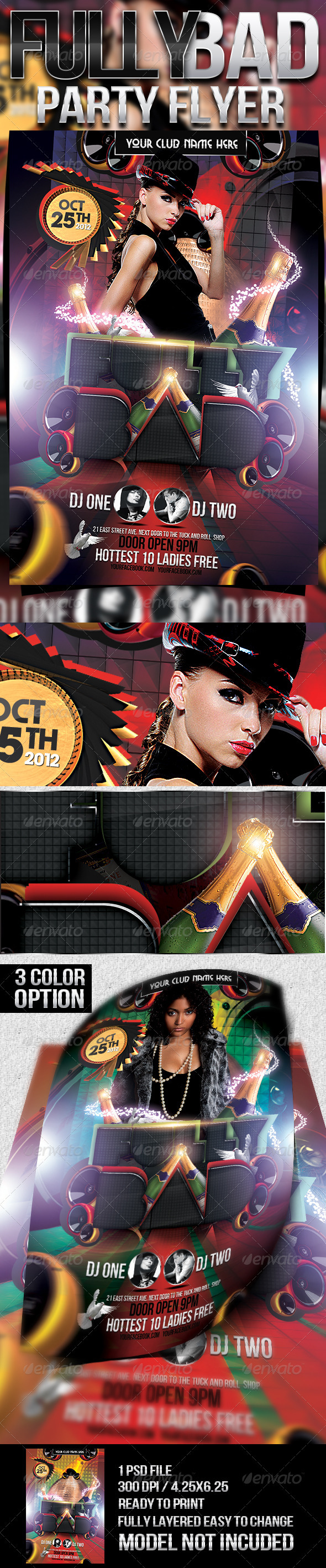 Fully Bad Party Flyer - Clubs & Parties Events