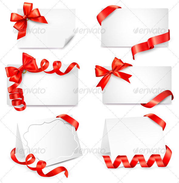 Set of beautiful cards with red gift bows - Christmas Seasons/Holidays