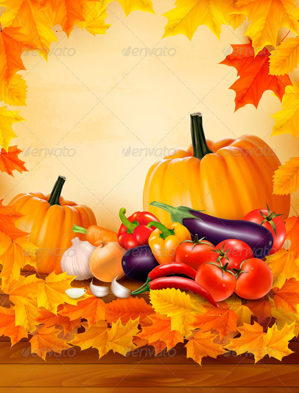 Autumn vegetable on wooden background with leaves  - Seasons Nature