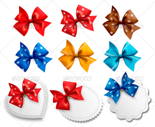 Big collection of colorful gift bows and labels - Decorative Vectors