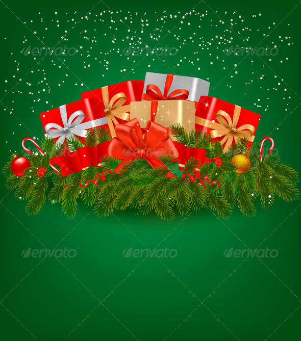 Christmas background with presents and a ribbon - Christmas Seasons/Holidays
