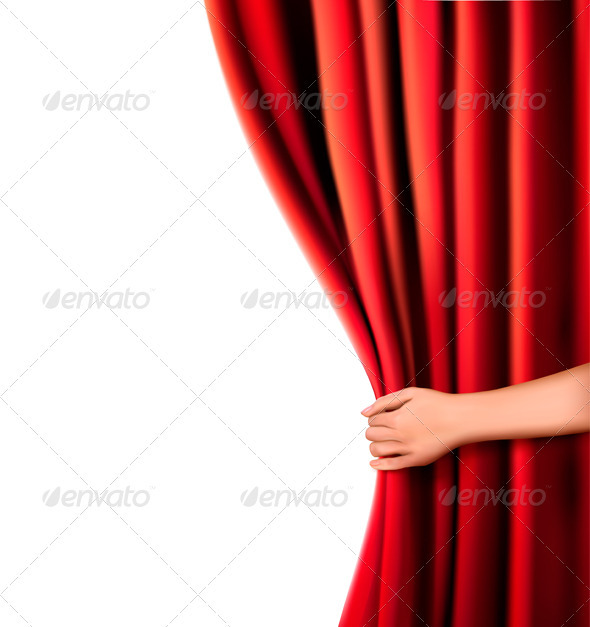 Background with red velvet curtain and hand - Backgrounds Business