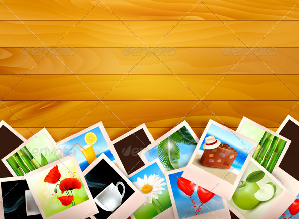 Colorful photos on wooden background - Travel Conceptual