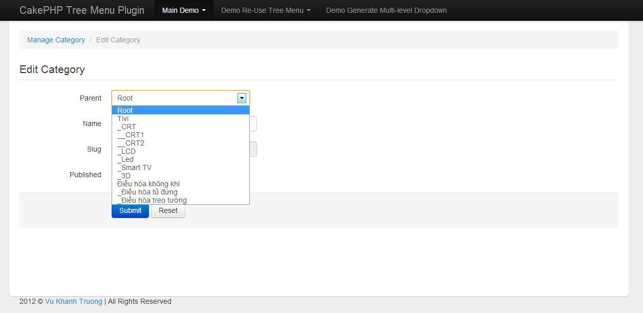 CakePHP Tree manage & build multilevel menu plugin