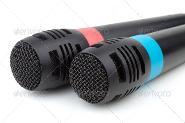 Two cable microphones, closeup - Stock Photo - Images