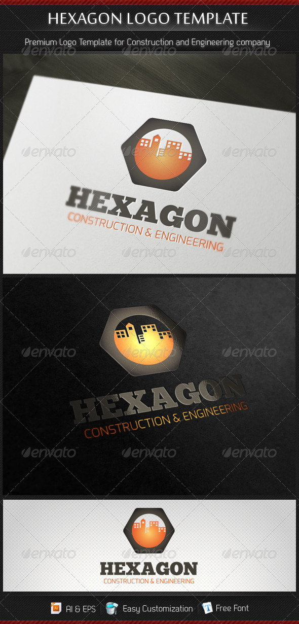 Hexagon Construction and Engineering Logo Template - Buildings Logo Templates
