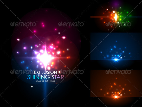 Shiny Star Explosion Vector Backgrounds - Nature Conceptual