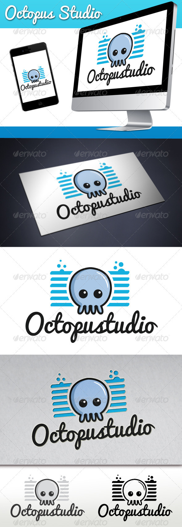 Octopus Studio Mascot Logo - Animals Logo Templates