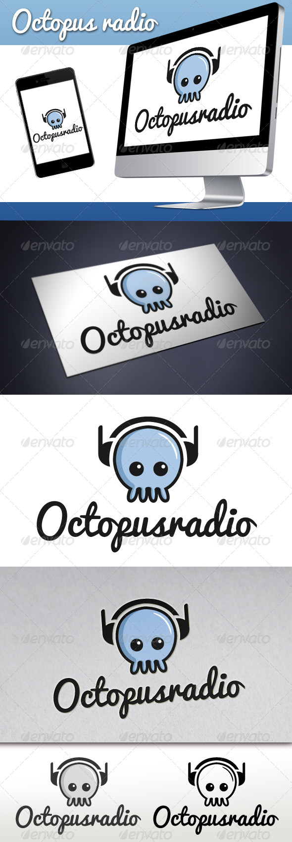 Octopus Radio Logo - Animals Logo Templates