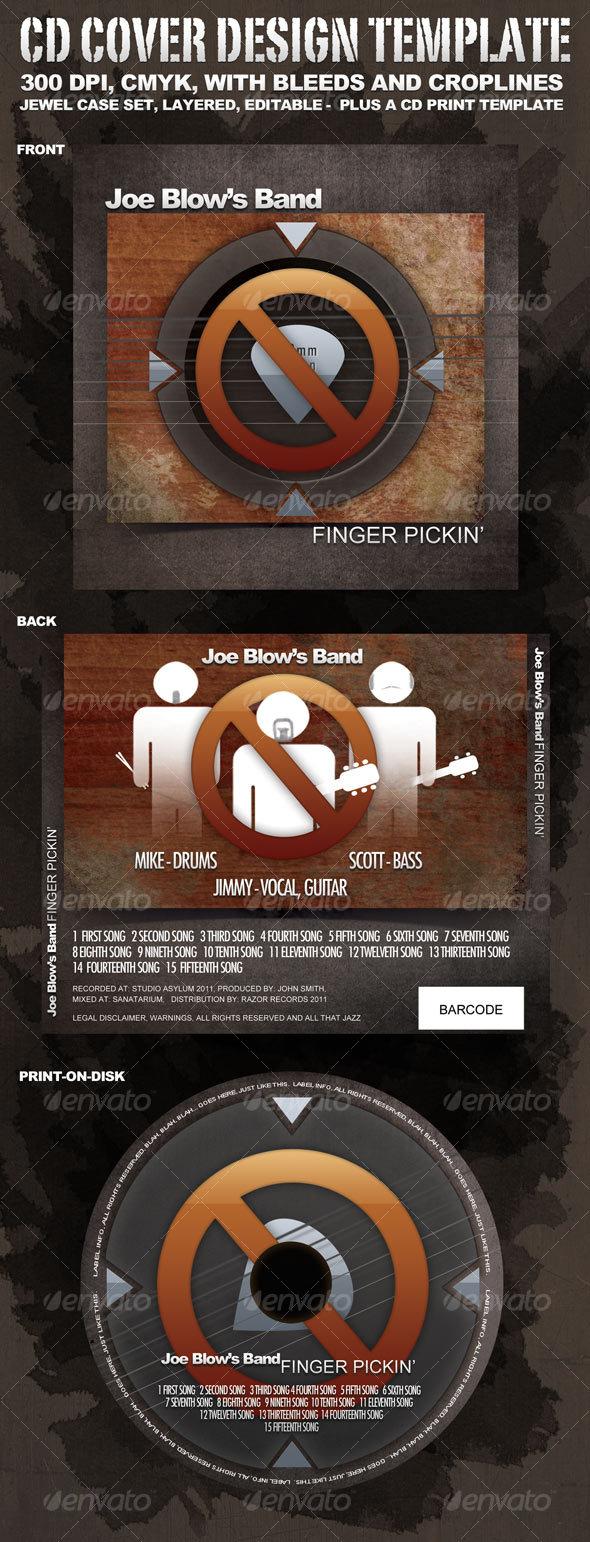 """CD Cover Design """"Finger Pickin'"""" - CD & DVD Artwork Print Templates"""